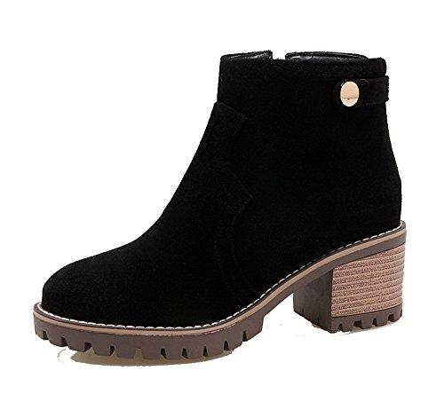 AgeeMi Shoes Mujer Tacon Ancho Suede Caña Baja Botas con Cremalleras EuX68 Negro