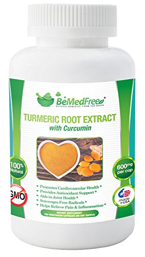 BeMedFree.com Turmeric Curcumin with Bioperine – Anti-Inflammatory, Antioxidant, And Anti-Aging Supplement – Made In U.S.A., Non-GMO, 180 Capsules For Sale