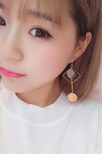 Generic Korea temperament artificial ear clip earrings non-pierced ear shells buckle exaggerated personality asymmetric earring eardrop dangler earrings temperament women girls lady - Asymmetric Buckle