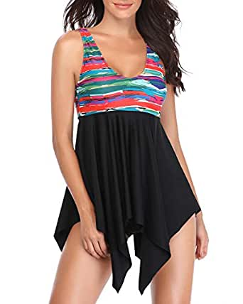 Tempt Me Women Two Piece High Waisted Printed Irregular Tankini Swimdress with Low Rise Triangle Bottom Black S
