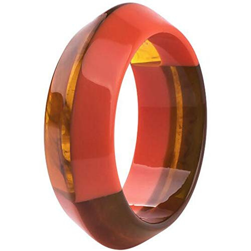 Jude Jewelers Fashion Stylish Acrylic Resin Plastic Statement Clocktail Party Bangle Bracelet (Brown-Orange)