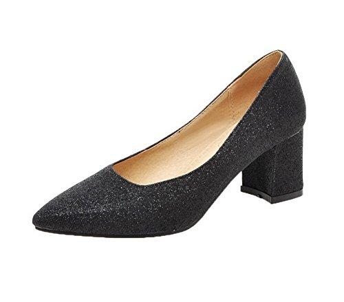 Amoonyfashion Damesschoenen Pu Kitten-hakken Pull-on Studded Pumps-schoenen Zwart
