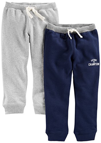 Simple Joys by Carter's Baby Boys' Toddler 2-Pack Athletic Knit Jogger Pants, Charcoal Gray, Navy, (Carters Toddler Knit)