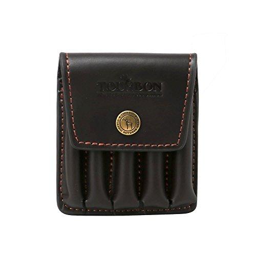 Tourbon Genuine Leather Rifle Cartridge Holder with Belt Loop (Dark Brown)