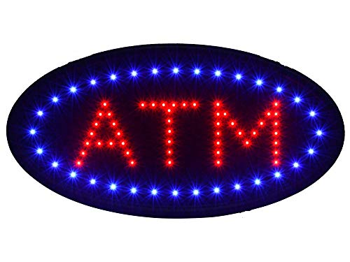 Led Atm Sign - Orihat Oval Animated Billboard ATM LED Sign, Super Bright Animated Billboard Switch Open Neon Light 19x10'' inch
