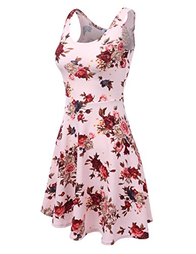 Women Dress Tank with Doublju Plus Dress Midi Party Size Skater Flare ltpinkrose for Awdsd0750 Fq8wq