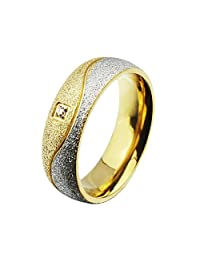 Stainless Steel CZ Couple Ring for Wedding Band Engagement Promise Wave Frosted,Gold & Silver