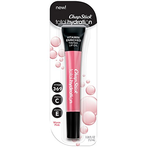 ChapStick Total Hydration Vitamin Enriched Tinted Lip Oil (Warm Pink, 1 Tube), Vitamin C, Vitamin E, Contains Omega 3 6 9, 0.24 Ounce