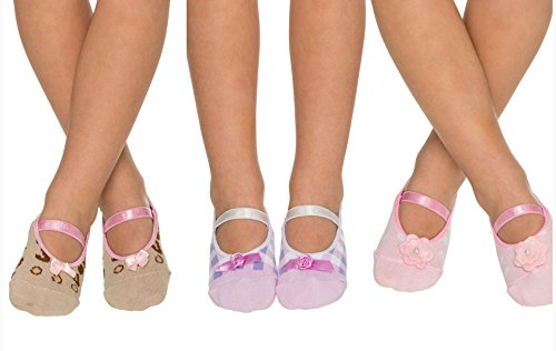 (3 Pairs Non Slip Skid Crossover Cotton Ballerina Yoga Socks with Grip Bottom for Kids Girls Toddlers Children (2-4 Years Old, Pink with Flower Bow, Purple and White, Animal Print (Brown and Beige)))