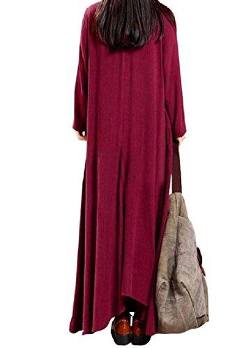 Coolred-femmes Manches Longues Taille Plus Populaire De Style Bouffant Tout Le Match Robe Rouge Vin