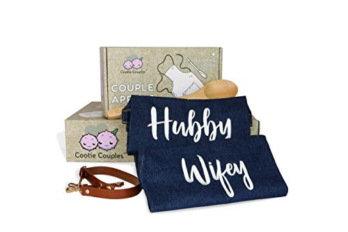 Hubby Wifey Couples Aprons Matching Gift Set with Leather Straps | His and Her Gifts | Newlywed Gifts | Bridal Shower Gifts | Wedding & Engagement Gifts (Gift Last Minute Wedding)