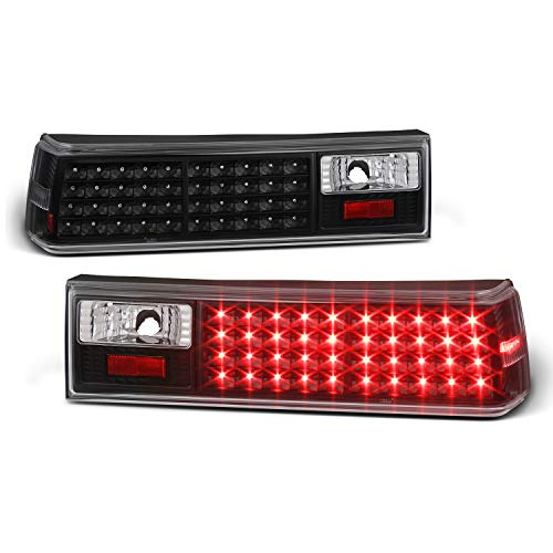 For 87-93 Ford Mustang Black Housing Clear Lens LED Tail Brake light lamp Replacement Assembly Pair ()