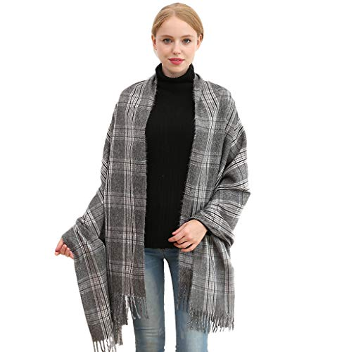 Longwu Women Soft Cashmere Wool Plaid Scarf Large Pashminas Shawl and Wrap Warm Stole Blanket-04#