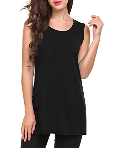Women's Round Neck Casual Side Slits Long Tops (Black) - 5