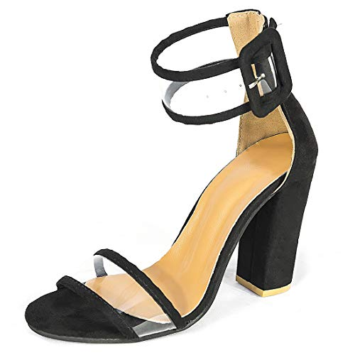Women's High Heel Platform Dress Pump Sandals Ankle Strap Block Chunky Heels Party Shoes - Black 6.5
