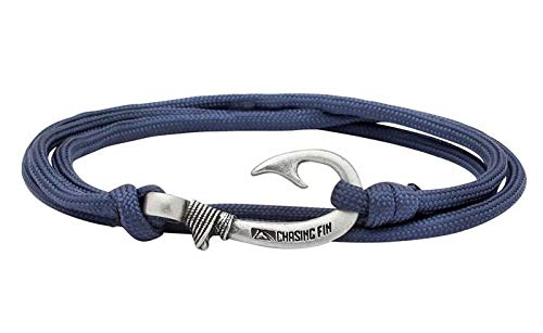 (Chasing Fin Adjustable Bracelet 550 Military Paracord with Fish Hook Pendant, Navy)