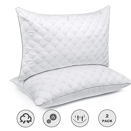 Bed Pillows for Sleeping(2-Pack) Luxury Hotel Collection Gel Pillow Good for Side and Back Sleeper & Hypoallergenic-Queen Size (Best Bath Pillow Reviews)