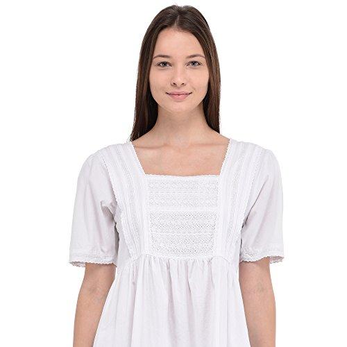 Camicia da notte in cotone bianco Vintage Cotton Lane Reproduction Plus Size N251-WT. Taglie italiane dalla 40 alla 70