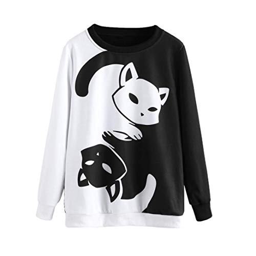 Clearance!Youngh New Women Oversize Cat Printing Cute Solid Sweatshirt Loose Long Sleeve Cotton Spandex pullover Casual Fashion hoodie sweatshirt Blouse by Youngh Top