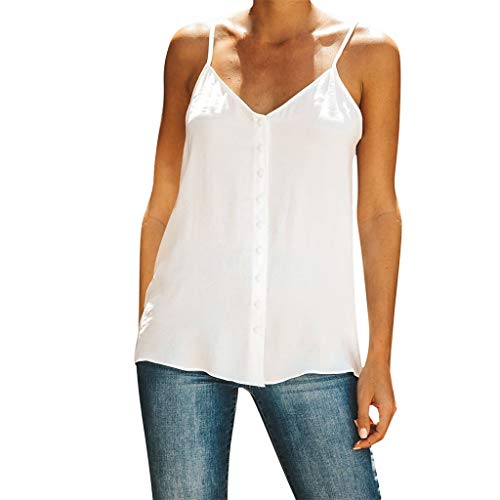 Sleeveless Cami Tops Blouse for Women,Amiley Women Solid Color Sleeveless Camisole Blouse Spaghetti Strap V Neck T Shirts