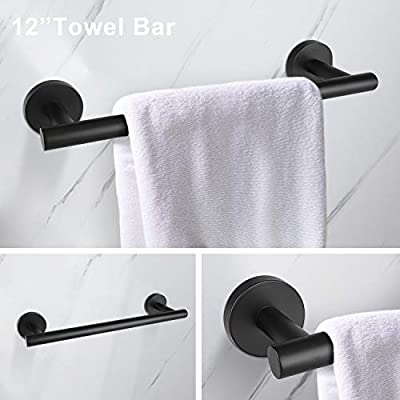 Toilet Paper Holder Towel and Robe Hook Pynsseu 3-Pieces Stainless Steel Matte Black Bathroom Hardware Set Wall Mounted SUS304 Including 12In Towel Bar Heavy Duty Bathroom Accessories Kit