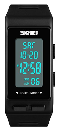 REGINALD Men's LED Digital Watch Rectangular Watch Backlight Waterproof Alarm Clock Rubber Band Watch (Black)