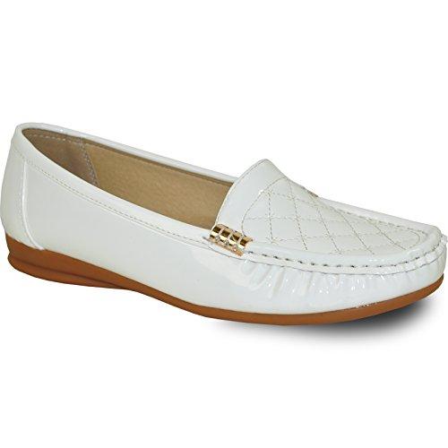 Kozi Women Comfort Shoe Th6253_white Patent Met Gewatteerd Vamp White Patent