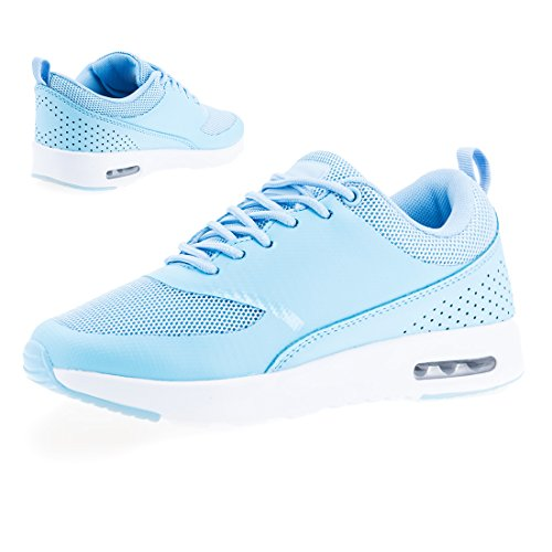 Marimo Trendige Damen Laufschuhe Schnür Sneaker Sport Fitness Turnschuhe Largo Blau