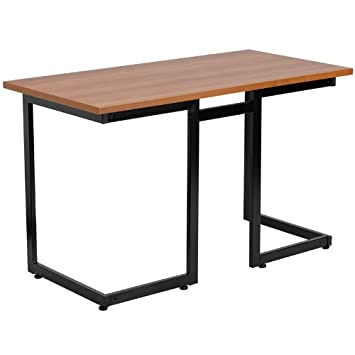 flash furniture cherry computer desk with black frame