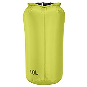 LiteSak Waterproof Lightweight Dry Bag | Keeps Gear Safe & Dry During Watersports & Outdoor Activities | Made from Ultra Strong Silicone-Coated Nylon & Weighs Less Than 2.5 Oz. (Green, 20 Liter)