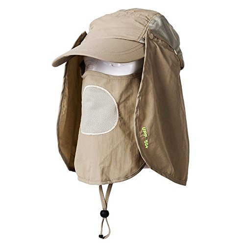 MassMall UV 50+Protection Outdoor Multifunctional Flap Cap with Removable Sun Shield and Mask Perfect for Fishing Hiking Garden Work Outdoor Activities Khaki
