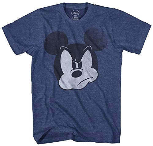 Disney Mad Mickey Mouse Adult Mens T-Shirt (Extra Large, Navy Heather) ()