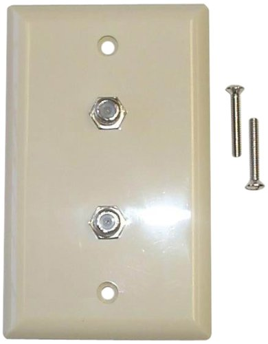 Black Point Products BV-071 Ivory Dual Coax Wall Plate, Ivory ()
