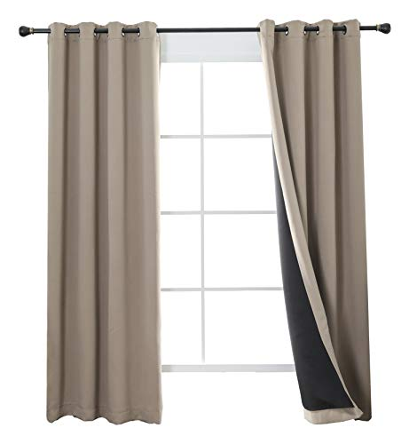 - Aquazolax Complete 100% Blackout Curtain Set, 2 Thick Layers Lined Drapes for Living Room, Energy Saving Long Curtains for Patio Sliding Glass Door, 1 Pair, W52 x L72 inch, Khaki/Taupe