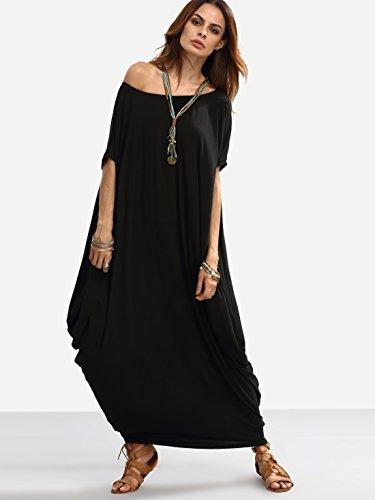 Verdusa Womens Boho One Off Shoulder Caftan Sleeve Harem Maxi Dress