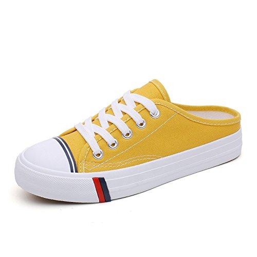Women Round Toe Slip On Sneaker Lace up Sneaker -(Yellow 40/9.5 B(M) US Women)