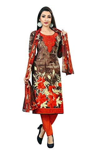Ladyline French Crepe Ethnic Printed Salwar Kameez Suit Indian Pakistani Dress (Size_36/ Brown)