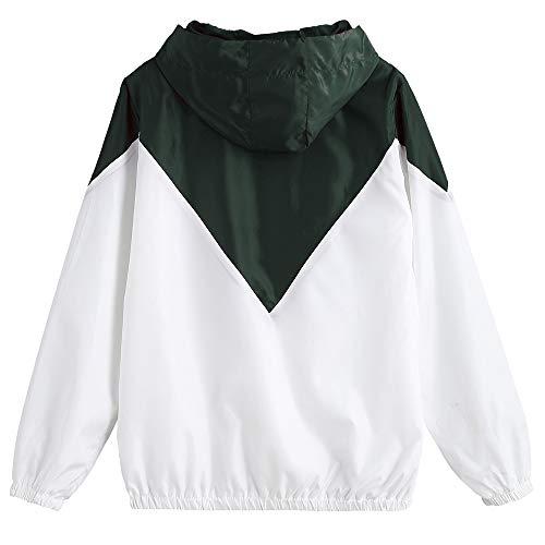 Larga Informal Zaful Patchwork Chaqueta Tejido Capa De Mujer Cremallera Cordón Del Sudadera Con Suelta Camisa Doble Manga Bolsillo Ejército Verde Delantero r4Zr8x