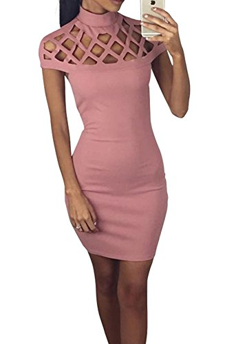 Miss Floral® Womens Cut Out Collar Bodaycon Mini Pencil Dress 5 Colour Size 6 - 18: Amazon.co.uk: Clothing