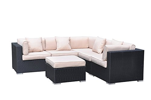 Oliver Smith - Large 4 Pc Modern Rattan Wiker Sectional Sofa Set Outdoor Patio Furniture - Fully Assembled - Aluminum Frame with Ottoman - 908 Light Beige (Patio Sectionals)