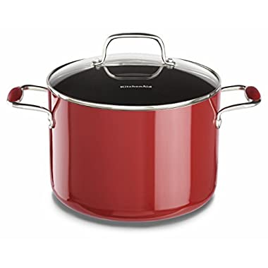 KitchenAid KCA80SCER Aluminum Nonstick 8.0-Quart Stockpot with Lid Cookware - Empire Red