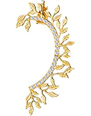 Leaf Climbers Crawler Jewelry Jacket Earrings Cute Crystals Alloy Left Ear Cuff Wrap Clip Golden Stud Earring Climber Top Ear Clip for Women Girls 1 PC