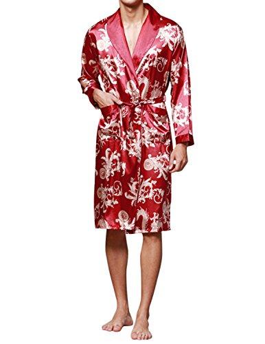 Haseil Men's Satin Robe Dragon Chinese Silk Spa Long Sleeve House Kimono Bathrobe, WineRed, TagsizeXL=USsizeM -