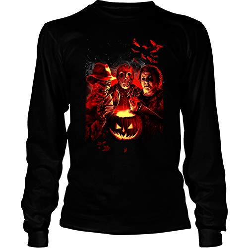 (Jason Horror Nights T Shirt, Horror League T Shirt, Michael Leatherface T Shirt - Long Sleeve Tees (M,)