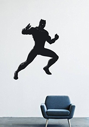 T'challa Costume (Wall Decals Decor Viny Black Panther Marvel Comics Superhero T'Challa Power Shoes Costume Mask Superpower Claws Africa Nubyyskyy Carbon Tiger Prince Charles, Mr. Luc Okonkvo Male Boy Ornament LM0699)