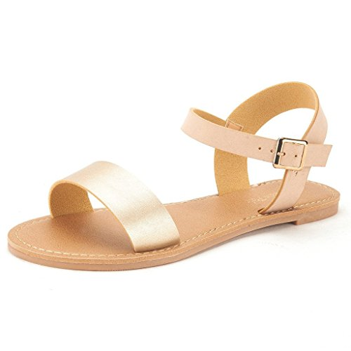 (DREAM PAIRS HOBOO Women's Cute Open Toes One Band Ankle Strap Flexible Summer Flat Sandals New Gold-Nude Size 9)
