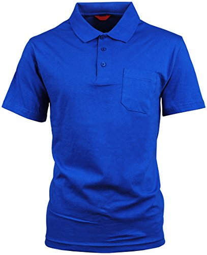 Angel Cola Men's Pocket Short Sleeve Plain Cotton Polo Shirt Royal Blue XL