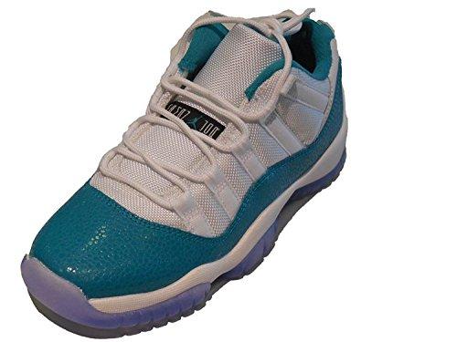 Nike Jordan 11 Retro Low (PS) Pre School Kids Girls White/Volt Ice/Black/Turbo Green 580521-143 (Size: 2.5)