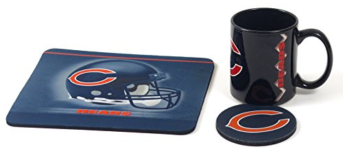 Chicago Bears Neoprene Mouse pad, Coaster, and Ceramic Coffee Mug Computer Workstation Set. (Mug Mouse Pad Coffee)