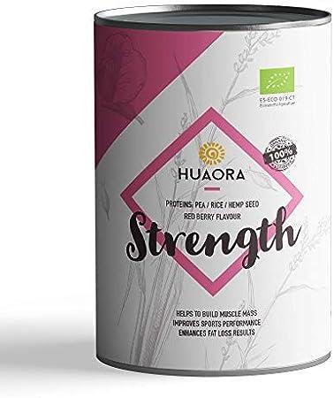 Mix de Proteínas veganas 65% con sabor frutos rojos, 700gr   100% Natural y Orgánico - Sin Gluten, Sin Lactosa, Sin Aditivos Artificiales